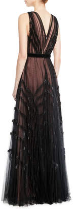 J. Mendel V-Neck Sleeveless Pleated Embellished Tulle Evening Gown