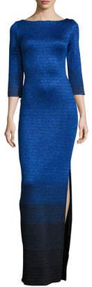 St. John Collection Metallic Degrade Peekaboo 3/4-Sleeve Gown, Azzurine/Multi $1,795 thestylecure.com
