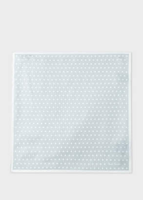 Paul Smith Men's Light Grey Polka Dot Silk Pocket Square