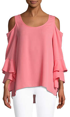 Halston H Cold-Shoulder Blouse
