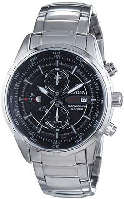 Festina Men's Quartz Watch with Black Dial Chronograph Display and Silver Stainless Steel Bracelet F6823/4