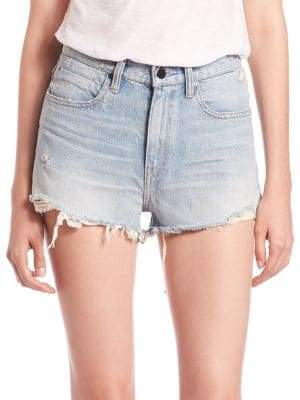 Alexander Wang T by Denim X Bite High-Rise Frayed Shorts