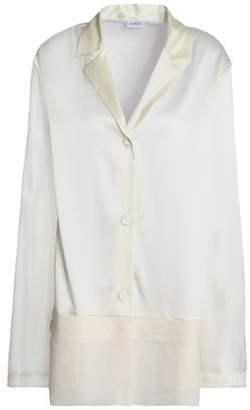 La Perla Georgette-Paneled Silk-Blend Satin Pajama Shirt