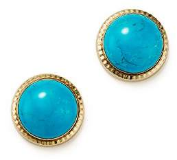 Bloomingdale's Turquoise Bezel Set Stud Earrings in 14K Yellow Gold - 100% Exclusive