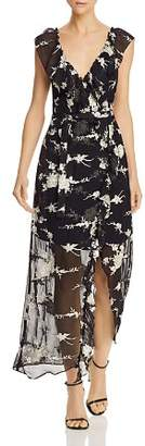 Bardot Floral Embroidered Faux-Wrap Maxi Dress