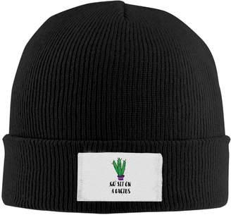 ROCHELLE AYOKO Go Sit On A Cactus Winter Warm Knit Hats Skull Caps Soft Cuff Beanie Hat Unisex