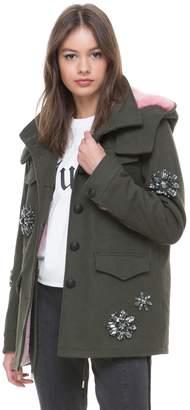 Juicy Couture Faux Fur Hood Embellished Parka