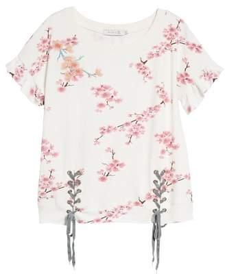 BILLY T Cherry Blossom Short Sleeve Lace-Up Sweatshirt