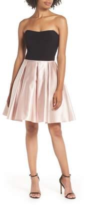 Blondie Nites Strapless Satin Skirt Fit & Flare Dress