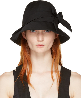 Yohji Yamamoto Black Bow Cloche Hat $730 thestylecure.com
