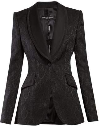 Dolce & Gabbana Single Breasted Floral Jacquard Blazer - Womens - Black
