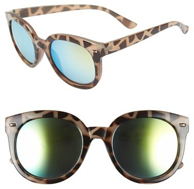 Junior Women's Bp. 52Mm Oversize Mirrored Sunglasses - Green/grey Tort