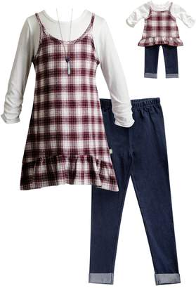 Dollie & Me Girls 4-14 Plaid Mock-Layer Tunic, Jeggings & Necklace Set
