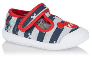 Disney George Mickey Mouse Striped 1 Strap Pumps