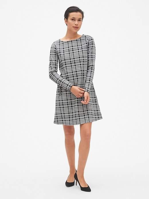 Plaid Long Sleeve A-Line Dress with Zip-Pockets