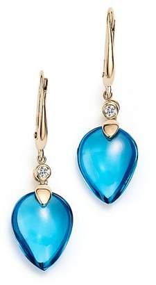 Olivia B 14K Yellow Gold Swiss Blue Topaz Cabochon & Diamond Drop Earrings - 100% Exclusive