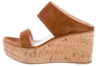 Gianvito Rossi Suede Slide Wedge Sandals