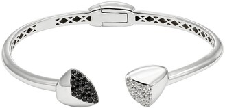 Black Spinel & White Topaz Sterling Silver Hinged Cuff Bracelet