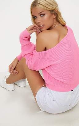 PrettyLittleThing Candy Pink Off The Shoulder Crop Jumper