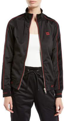 Givenchy Zip-Front Velvet Side-Stripe GG-Logo Tech Jersey Track Jacket