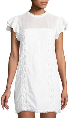 Tularosa Clayton Eyelet-Embroidered Mini Dress
