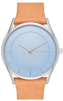 Women's Skagen 'Holst' Leather Strap Watch, 34Mm $145 thestylecure.com