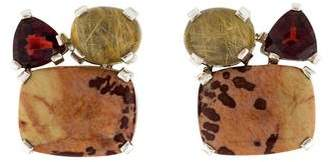 Stephen Dweck Jasper, Almandine Garnet & Rutilated Quartz Crystal Earrings