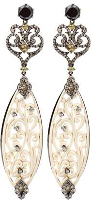 BOCHIC Carved Mammoth Drop Earrings With Diamonds
