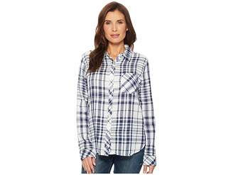 True Grit Dylan by Fresh White and Denim One-Pocket Plaid Luxe Double Cloth Shirt Women's Long Sleeve Button Up