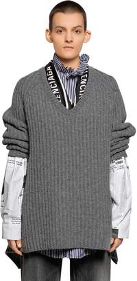 Balenciaga V Neck Wool Knit Sweater W/ Scarf