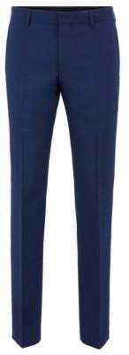 BOSS Hugo Slim-fit pants in virgin wool lined waistband 30R Open Blue