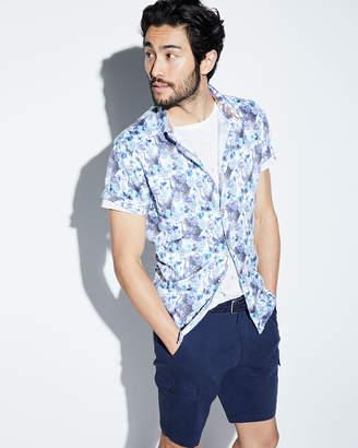 Noize Amstrdm Peacock & Butterfly Pattern Short-Sleeve Sport Shirt