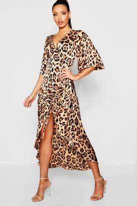 boohoo Leopard Print Rouched Side Maxi Dress