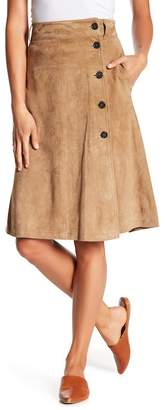 Frame Button Front Suede Leather Skirt