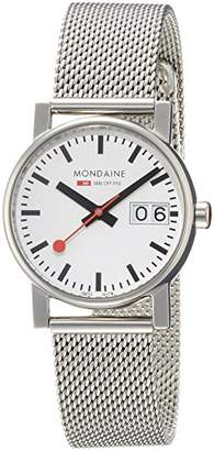 Mondaine Women's Quartz Watch with White Dial Analogue Display and Silver Stainless Steel Bracelet A6693030511SBM