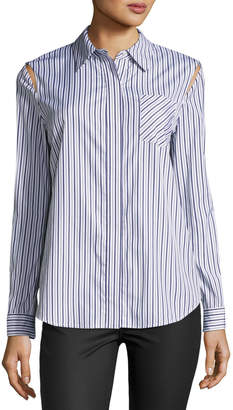 Milly Cassie Button-Front Striped Shirting Top