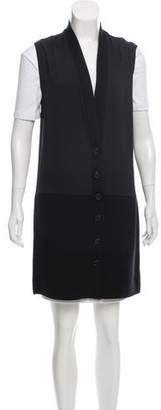 Givenchy Knit-Trimmed Longline Vest