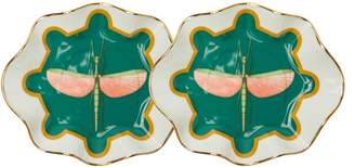 La Doublej - Set Of Two Dragonfly Print Porcelain Bonbon Dishes - Womens - Green Multi