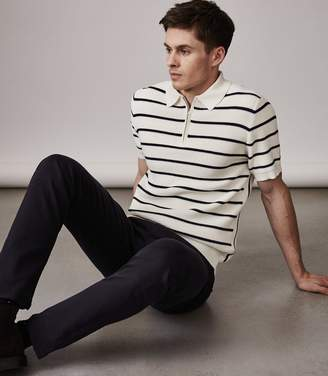 Reiss TRISTAIN STRIPED ZIP POLO SHIRT White/Navy