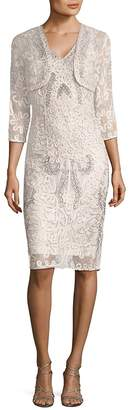 JS Collections Women's Two-Piece Lace Shawl and Cocktail Dress Set