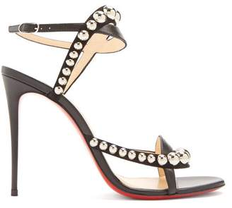 Christian Louboutin Galeria 100 Stud Embellished Leather Sandals - Womens - Black Silver