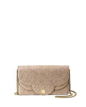 See by Chloe Polina Crackled Crossbody Wallet On A Chain, Metallic