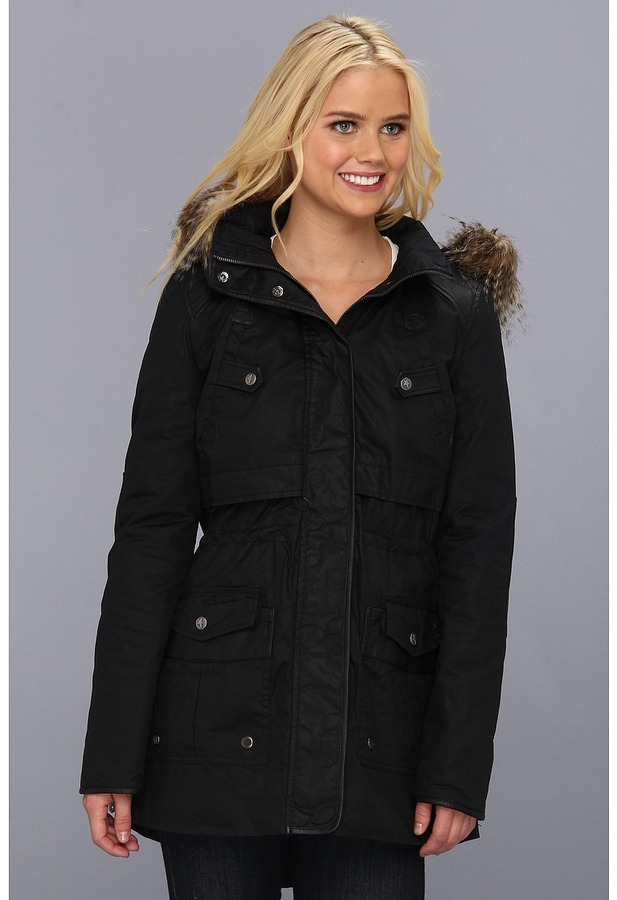 Sam Edelman Circus by Coated Cotton Jacket w/ Faux Fur Hood (Black) - Apparel