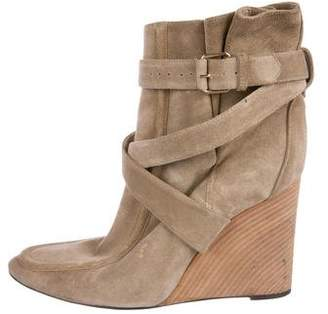 Balenciaga Suede Wedge Ankle Boots