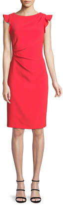 Elie Tahari Elsie Boat-Neck Ruffle-Trim Sunburst Sheath Dress