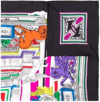 Versace Il Tempio print foulard