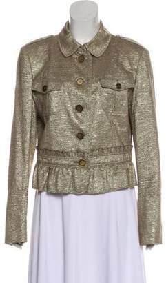 Burberry Metallic Peplum Jacket Gold Metallic Peplum Jacket