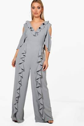 boohoo Plus Ruffle V Neck Wide Leg Jumpsuit