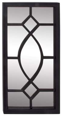 DecMode Decmode Modern 44 X 22 Inch Rectangular Wooden Framed Paneled Wall Mirror, Black