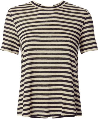 A.L.C. Alber Lace-Up Back Striped Tee